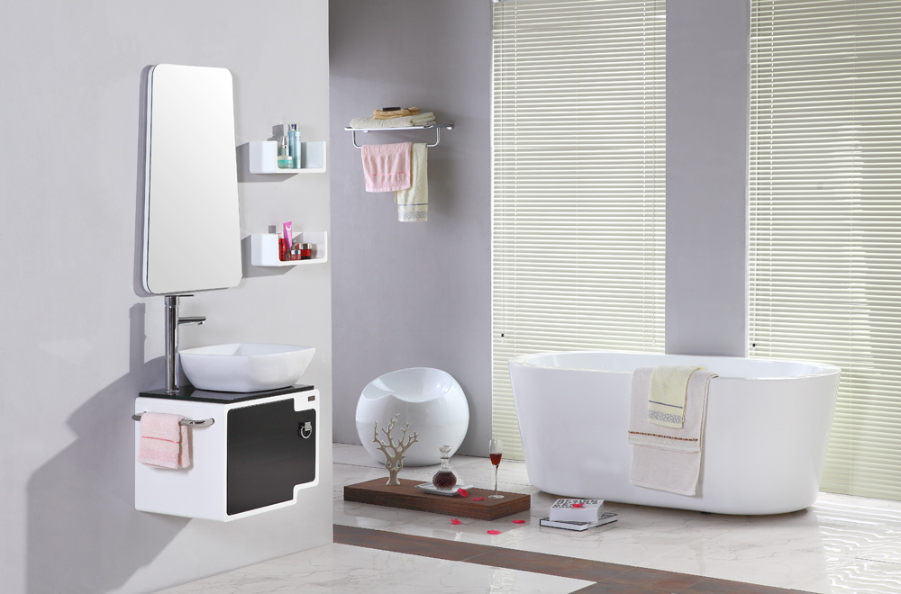 Sanitary Ware Wall Mounted MDF White Bathroom Vanity Furniture