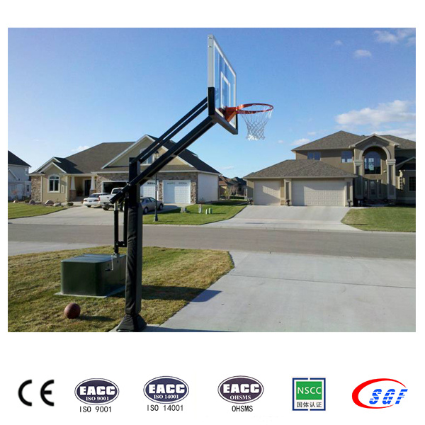 Underground Tempered Glass Backboard Outdoor Black Basketball Stand Hoop