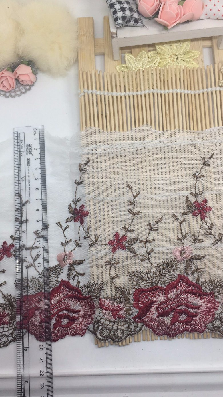 Bi-Color 19.5cm Width Embroidery Trimming Mesh Lace for Garments & Home Textiles & Curtains