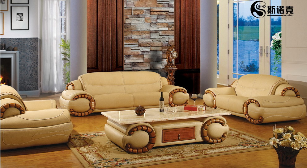 Leather Sofa On Wood Floor And Wood Frame Sign In Brick Wall Room