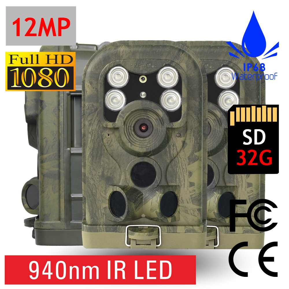 HD 1080P Trail Cams 12MP Hunting Video Cameras