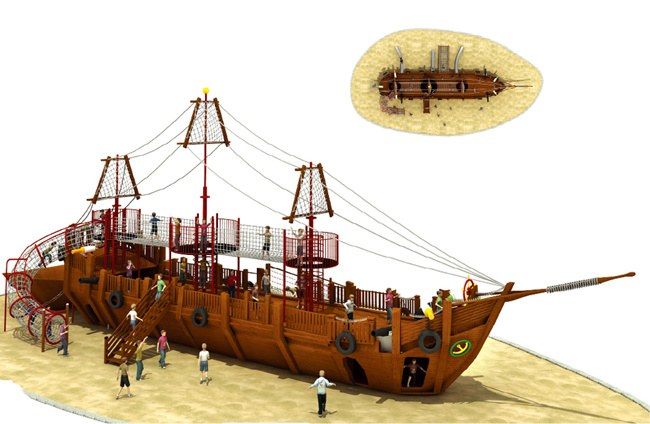China professional wooden pirate ship playground equipment - Wooden pirate ship outdoor ...