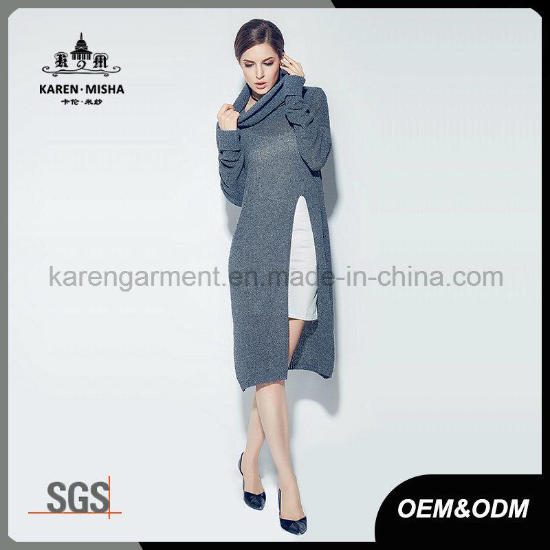 Women Turtleneck High Side Slit Long Sweater
