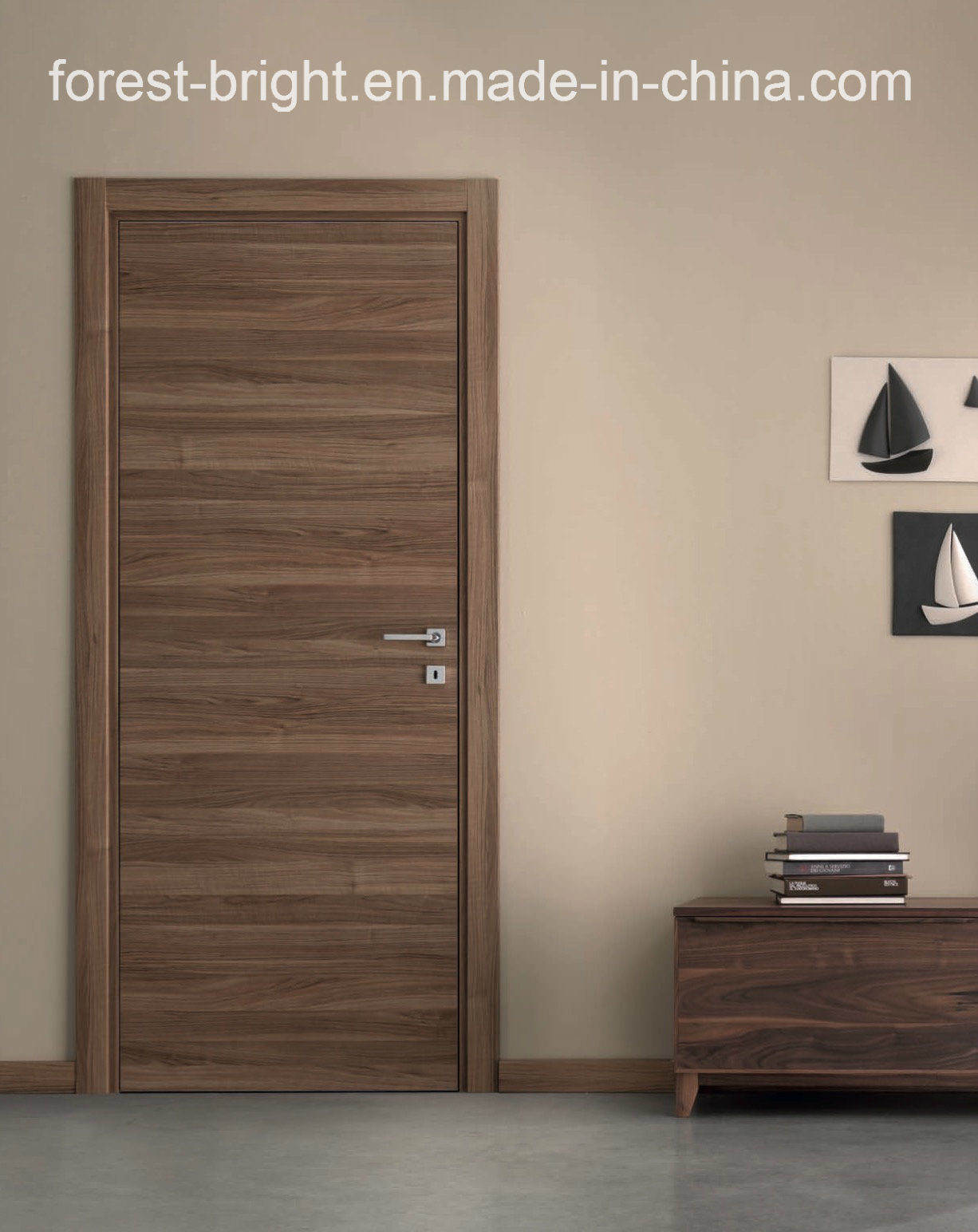 China natural veneered wooden flush door design mdf living for Living room door designs