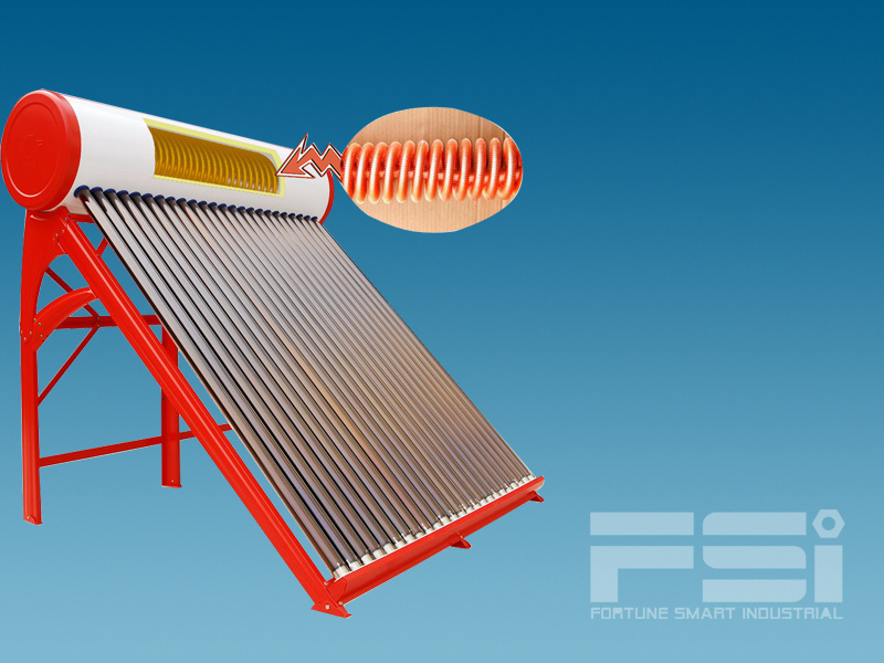 Medium-Pressurized Coiling Copper Finned Tube Solar Water Heater 801