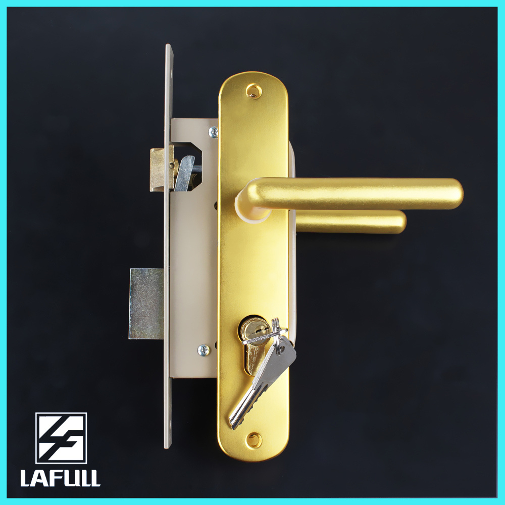 Golden Plated with Cylinder Security Door Handle Lock