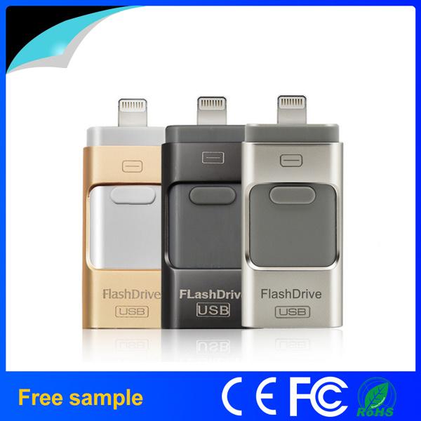 100% Real Capacity 64GB 128GB Metal 3 in 1 OTG USB Flash Drive