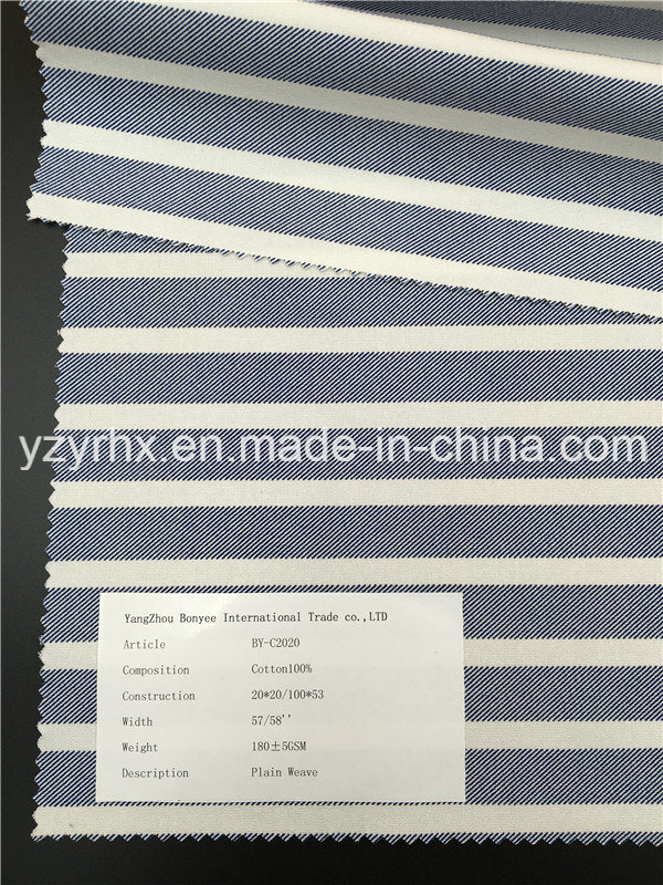 Finished Fabric 100% Cotton Plain Weave White Stripes Between Blue