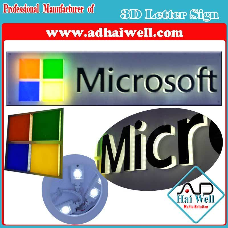 3D LED Letter Brand Sign and Logo Signages LED Sign