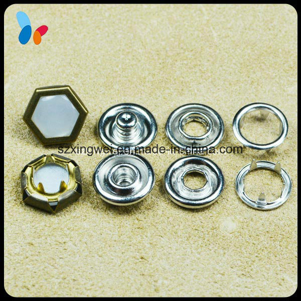 Hexagon Bead Surface Metal Prong Type Ring Snap Button