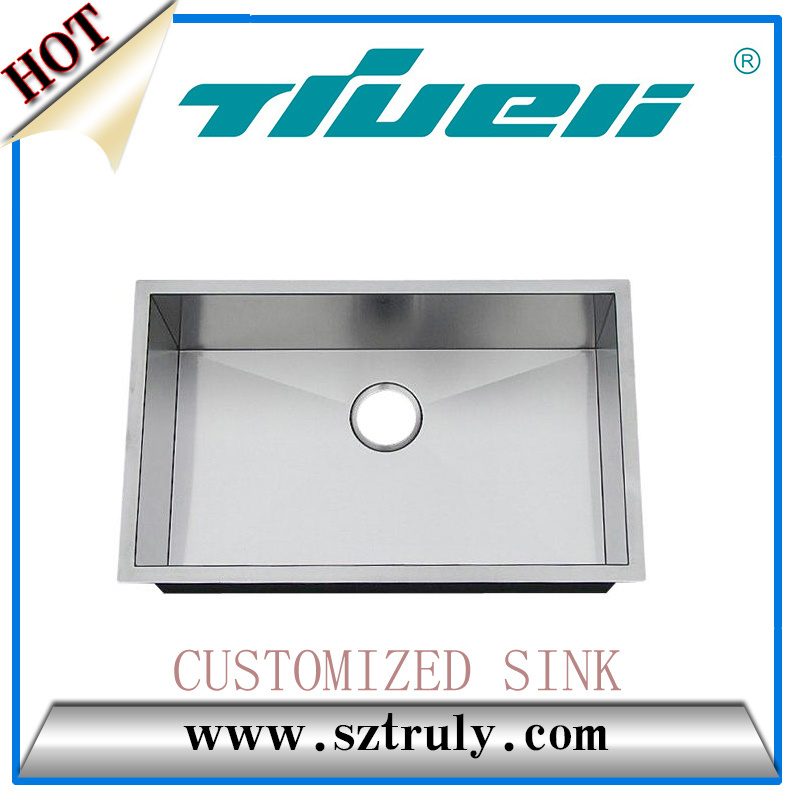 Factory Best Prices Single Customized Handmade 16 G Stainless Steel Handmade Kitchen Sink