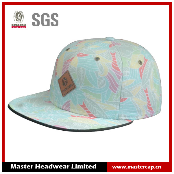 Polyester/Cotton Snapback Cap with PU Embossed Leather