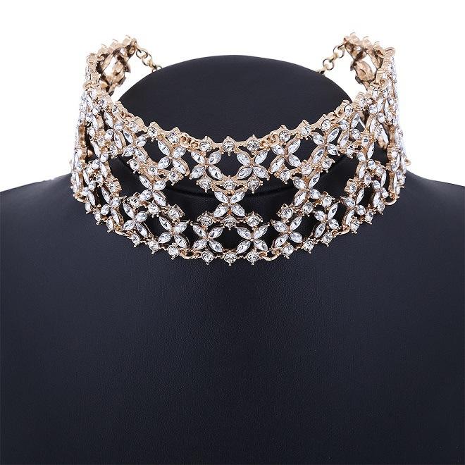 Fashion Luxury Glittering Full Rhinestone Diamond Wild Collar Choker Necklace Jewelry