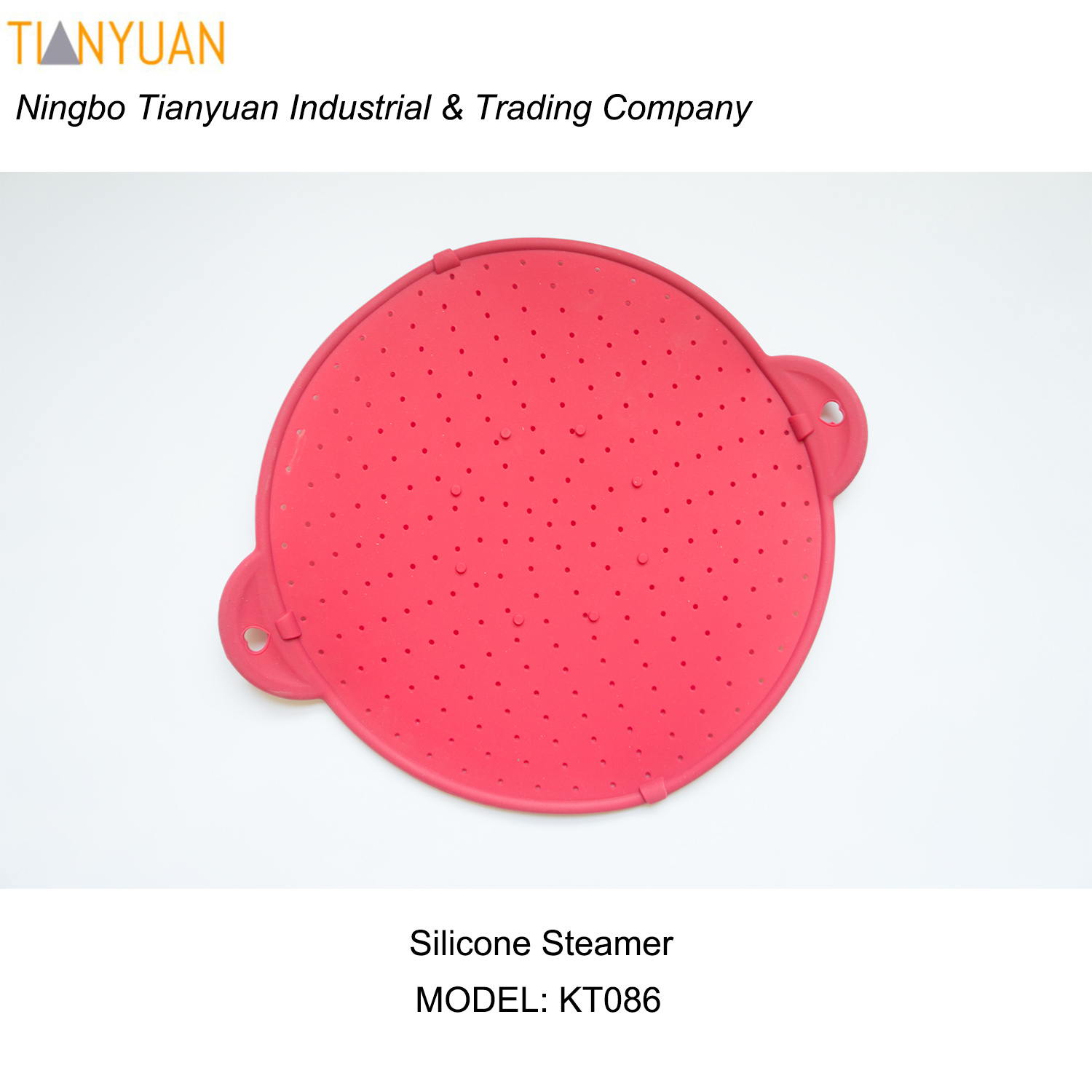 Microwave Silicone Steamer Heatproof Plate Steam Tray (Red)