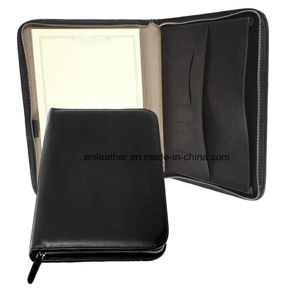 Italian Leather Padfolio Document Holder with Zipper Closed