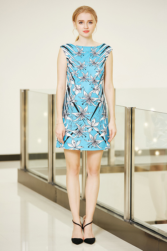 Boat Neck Sleeveless Ponte Shift Dress with Digital Placement Flowers Print