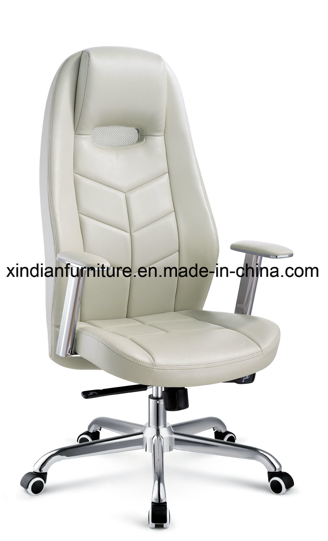 Office Modern Metal Executive Chair with Leather Faced