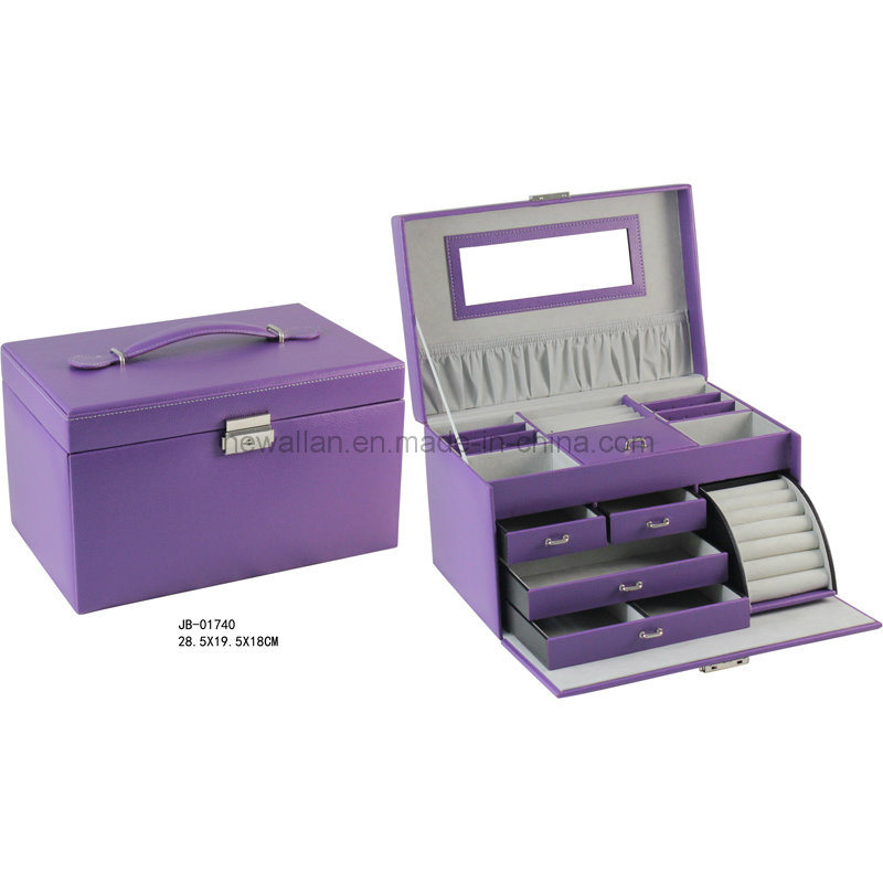 Hot Sales Purple Leather with Grey Lining Gift Jewelry Storage Box Leather Jewelry Box