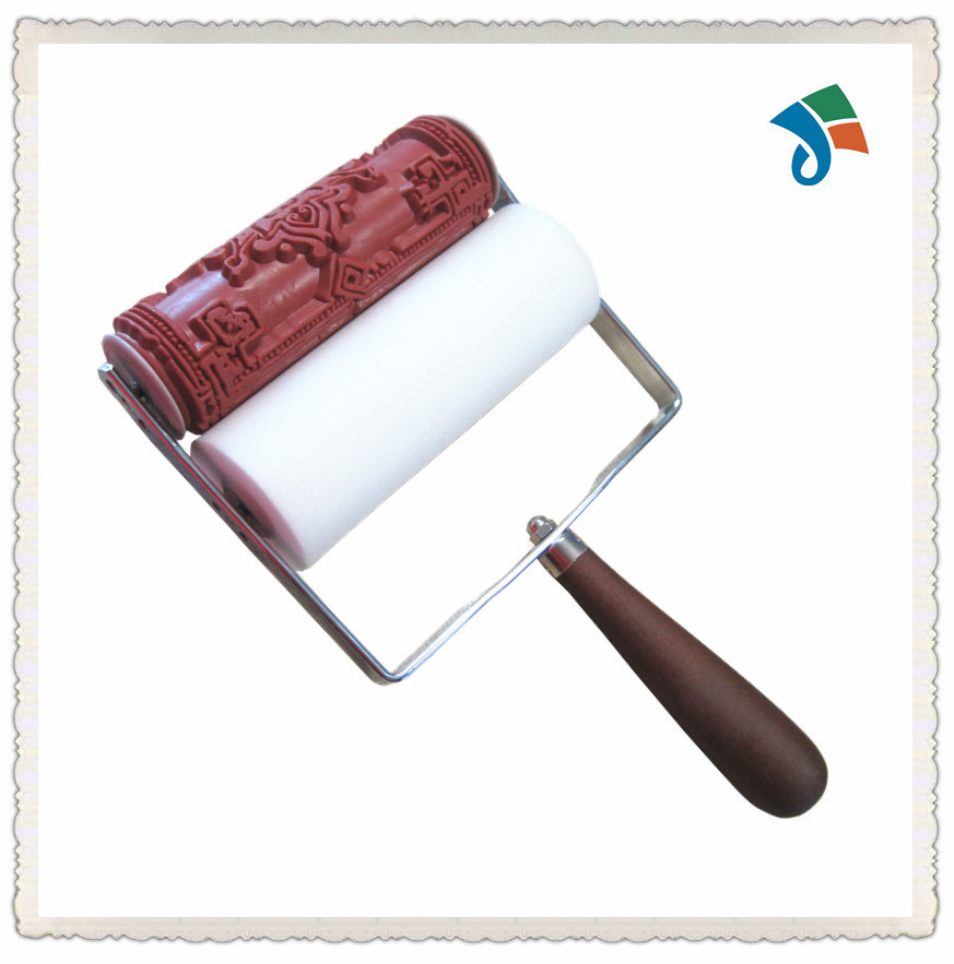 Wooden Handle Textured Rubber Paint Roller
