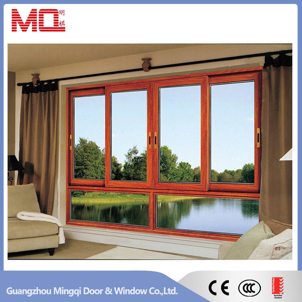 3 Tracks Double Glass Aluminum Sliding Window with Wire Mesh