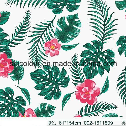 Leaves & Flowers Printed Fabric 80%Nylon 20 %Elastane Fabric for Swimwear