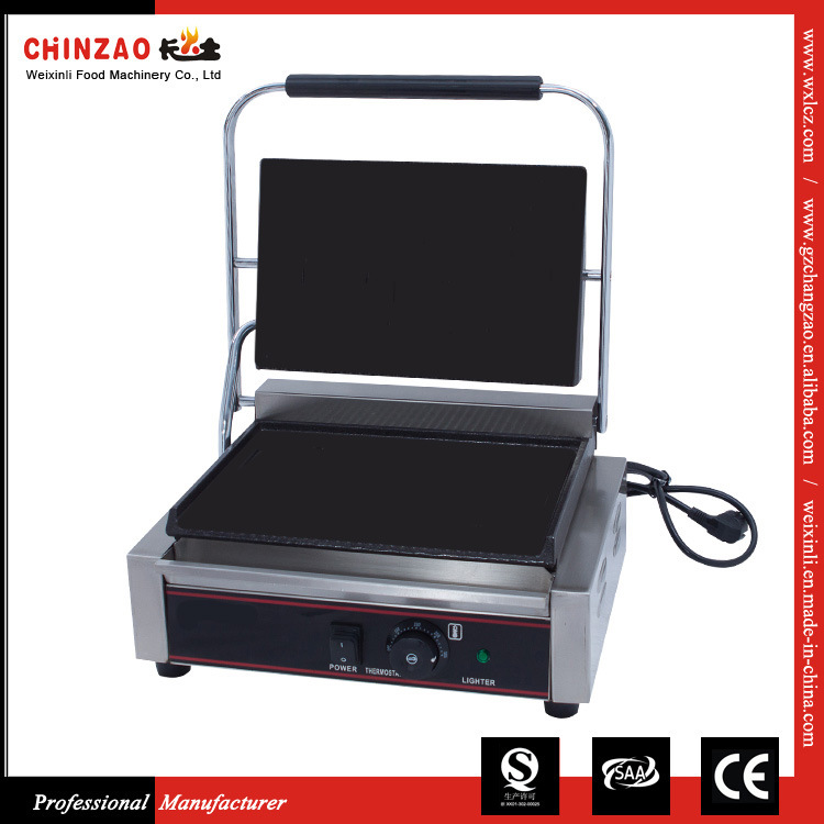 Commercial Electric Sandwich Panini Griddle Contact Grill with Both Ribbed Plates
