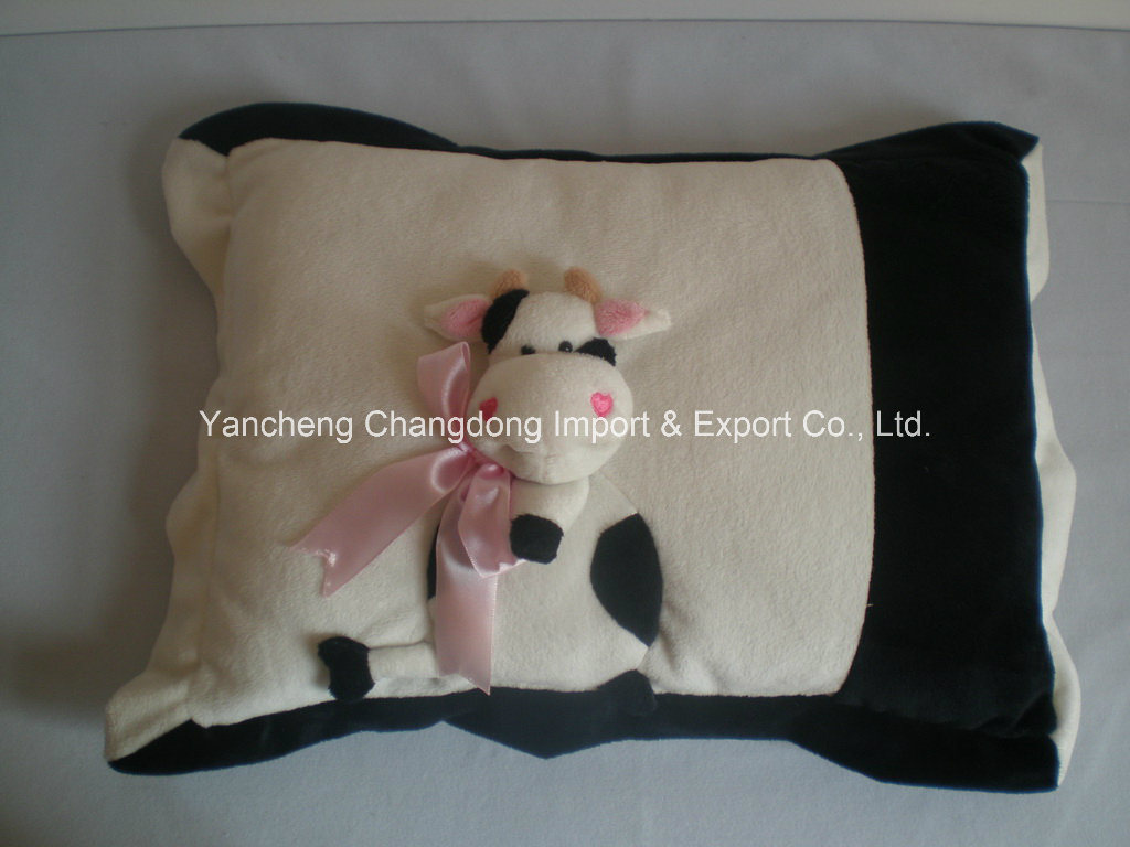 Plush Square Cushion with Angel Embroider