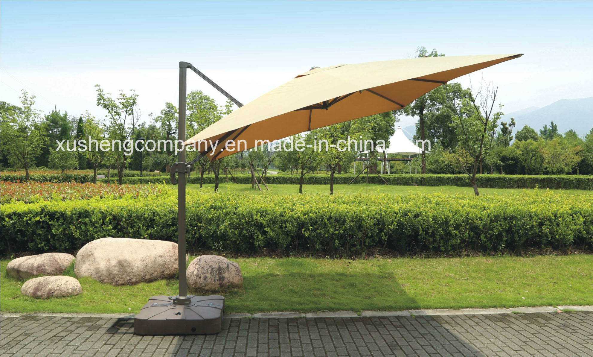Patio 10FT Square Outdoor Rotating Roman Garden Umbrella, Parasol with Cross Base