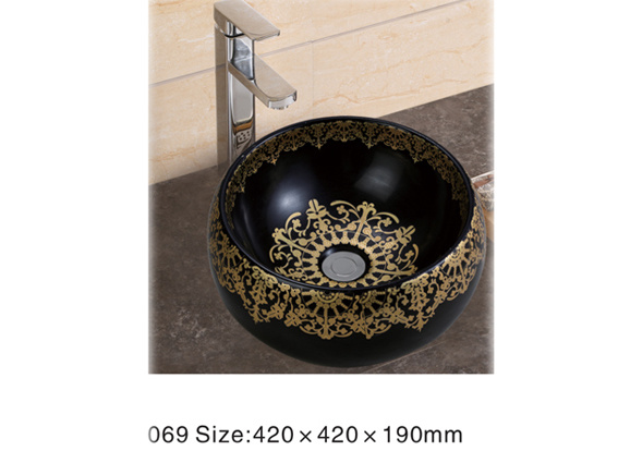 066bd Ceramic Sanitary Ware, Black Wash Basin with Golden Decal
