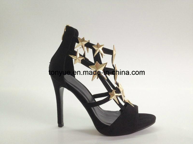 Lady Cow Suede High Heel with Metal Belt Elegant Sandals
