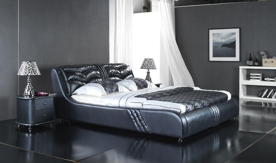 Modern Europe Leather Double Soft Bed (6067)