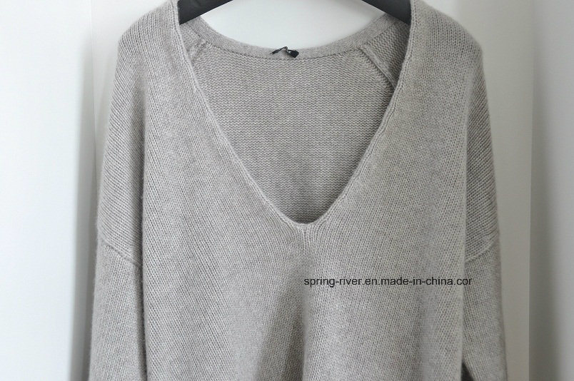 100%Cashmere Deep Vee Neck Pullover Knit Ladies Sweater