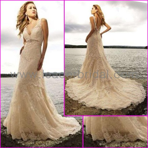 China double straps v neck white ivory lace beaded beach for Ivory champagne wedding dress