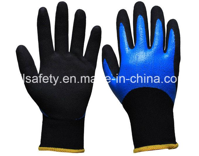 Blue Work Glove with Sandy Nitrile Coating (N1605)