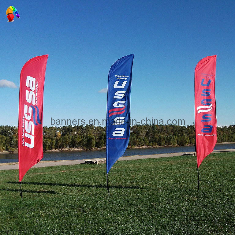 Custom Advertising Flag Stand With Promo Flags Photos
