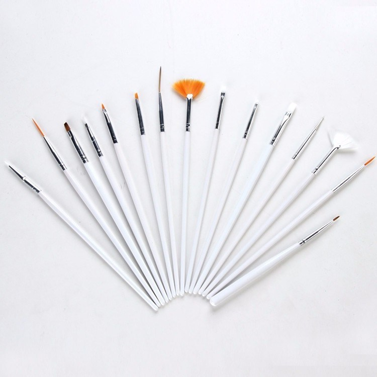 Nail Art Brushes Set, 15PCS White Decorations Gel Painting Pen Nail Brush