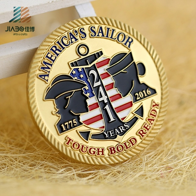 Jiabo Custom Made Metal Alloy 3D Navy Chief Challenge Coin