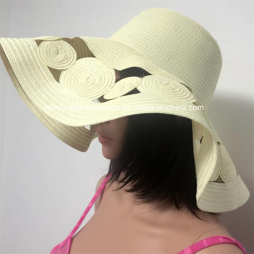 100% Straw Hat, Fashion Floppy Style with Stripe/Silver/String/Hollow Style