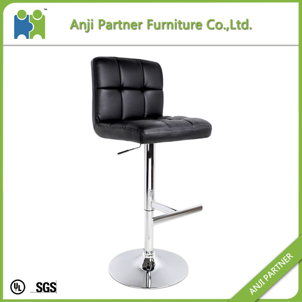(DAVID) Soft Leather Bar Chair Chrome Metal Footrest Bar Chair