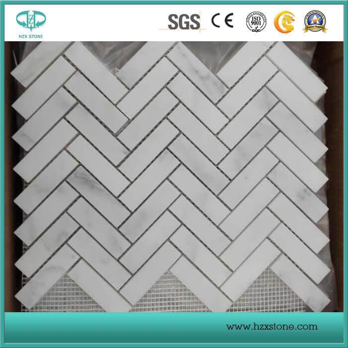 Hexagon/Basketweave/Herringbone/French Pattern Floor/Wall White Marble Tile Mosaics