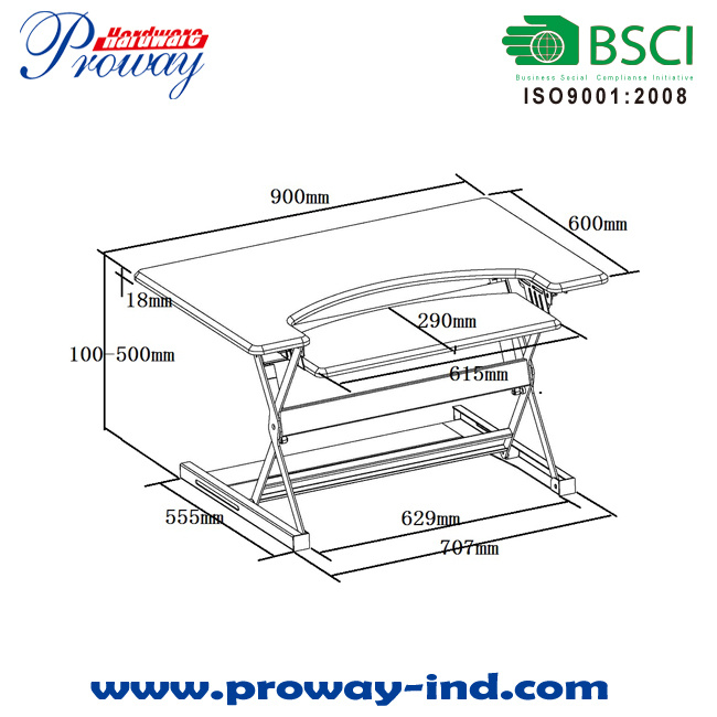 Height Adjustable Standing Desk Converter, Sit Stand Monitor Riser with Key Tray, Desktop Workstation