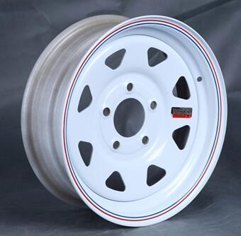 "Steel Spoke Trailer Wheel with - 15"" X 5"" Rim - 5 on 4-1/2 - White Powder Coat"