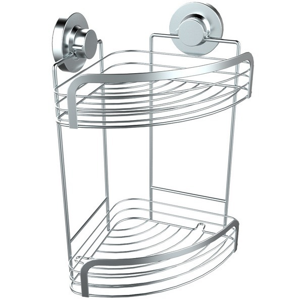 Suction Mounted Chrome 2-Tier Corner Shelf