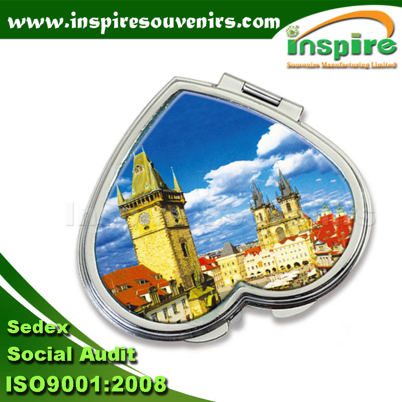 Heart-Shaped Metal Souvenir Epoxy Sticker Mirror
