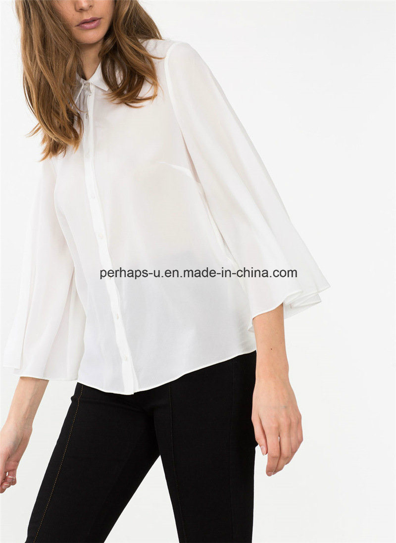 Fashion Pure Color Falbala Ladies Shirt Fashion Blouse