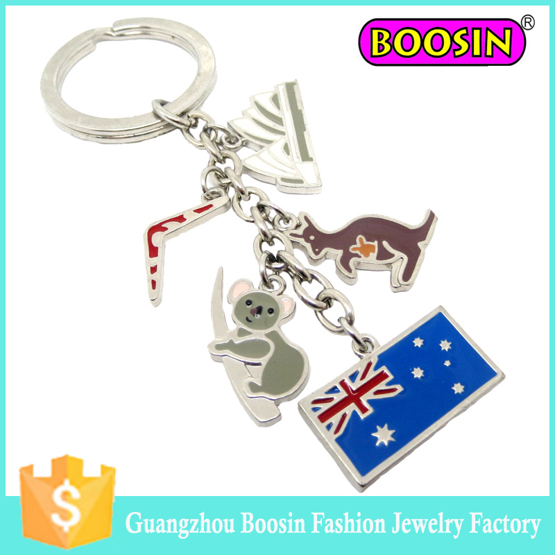 Wholesale Promotional Gift Cheap Fashion Custom Metal Flag Keychain