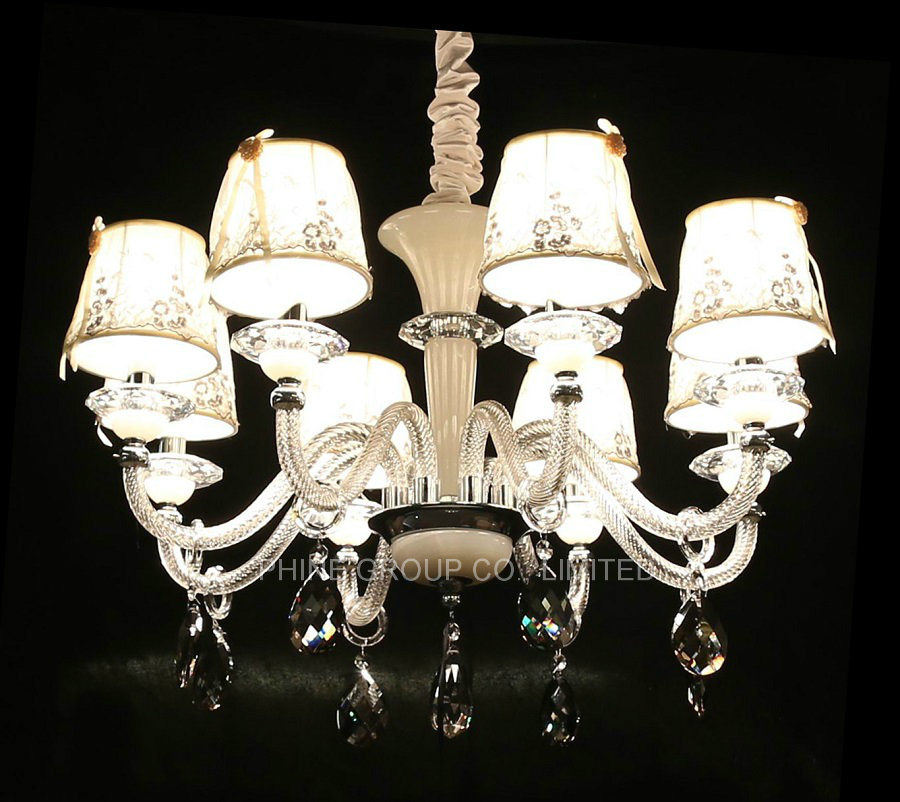 European Decoration Indoor Crystal Pendant Lighting with Fabric Shade