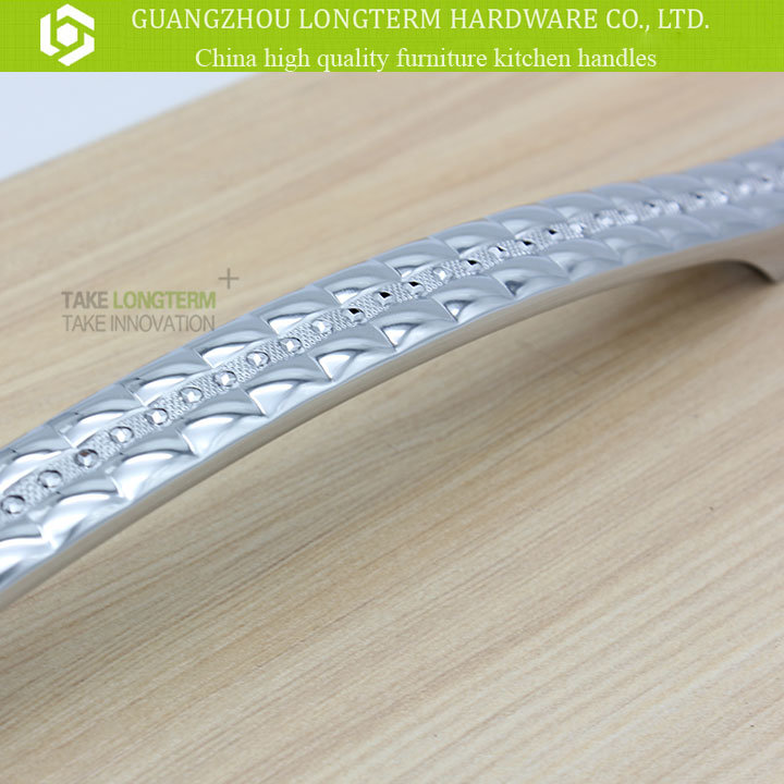 Clear Diamond Plaid Zinc Metarial Kitchen Handle Furniture Hardware