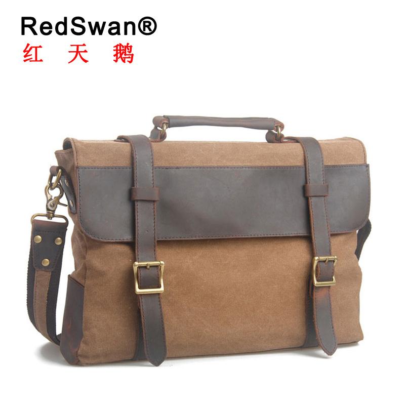 Leather and Canvas Shoulder Bag Formal Business Man Briefcase Laptop Handbags (RS-6870)