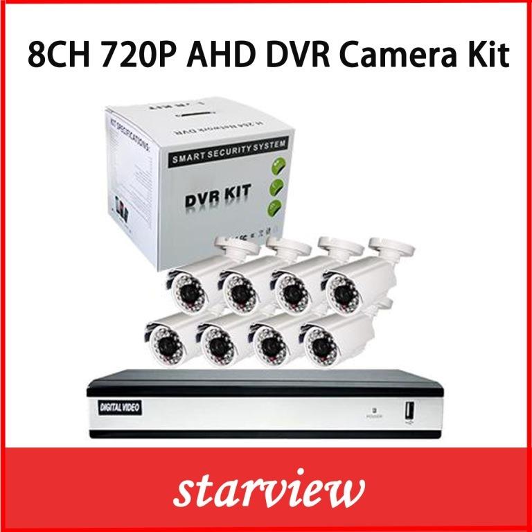 8CH 720 Ahd DVR with 8PCS CCTV Bullet Cameras